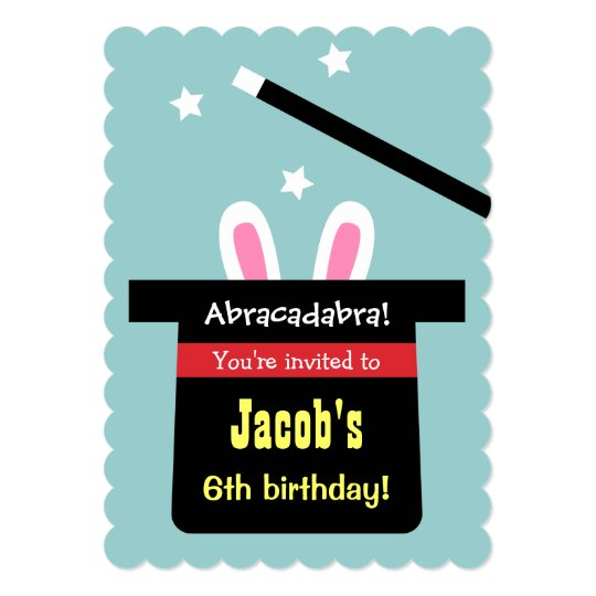 Cute Magic Hat Bunny Birthday Party Invitations – Magic Party Invitations