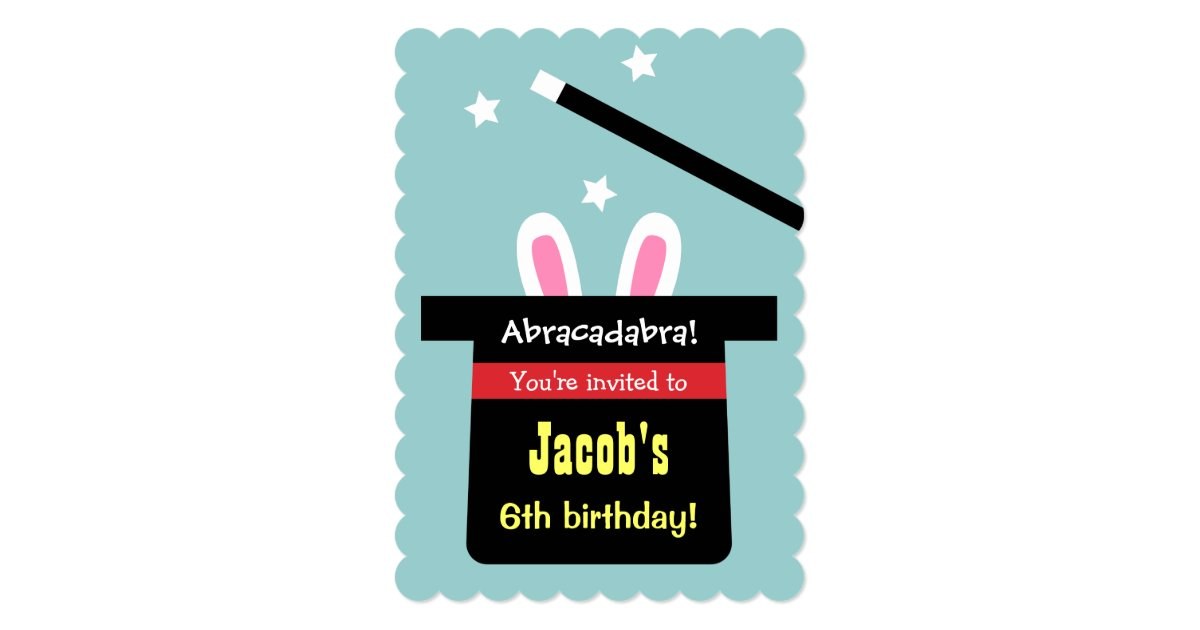 Cute Magic Hat Bunny Birthday Party Invitations | Zazzle.com