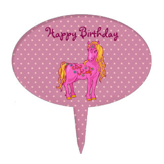 Cute Magic Horse with rainbow flower illustration Cake Topper