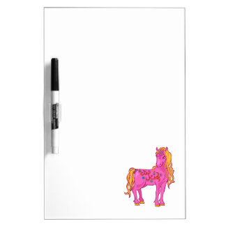 Cute Magic Horse with rainbow flower illustration Dry-Erase Board