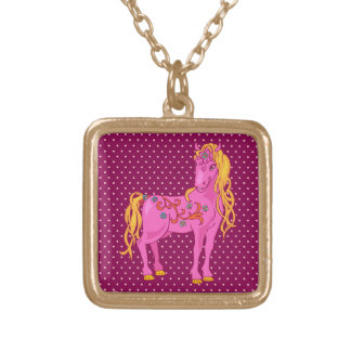 Cute Magic Horse with rainbow flower illustration Gold Plated Necklace