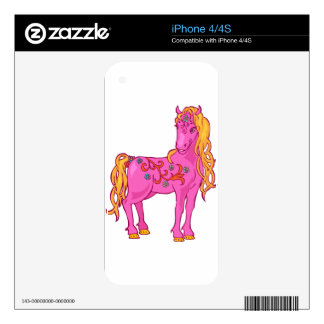 Cute Magic Horse with rainbow flower illustration iPhone 4 Skins