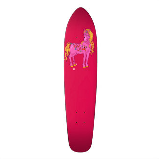 Cute Magic Horse with rainbow flowers illustration Skateboard