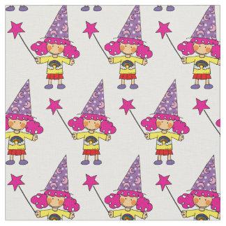 cute magic wizard princess girl pattern fabric