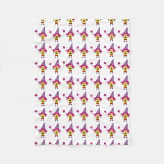 cute magic wizard princess girl pattern fleece blanket