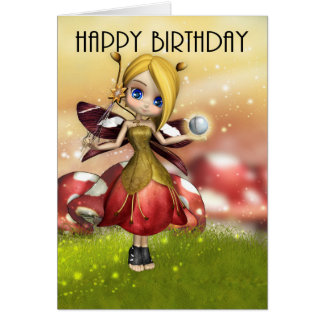 Cute Magical Fairy With Crystal Ball And Wand Card