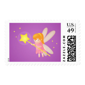 Cute Magical Fairy with Wand, For Girls Postage Stamp