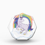 """Cute Magical Rainbow Unicorn Acrylic Award<br><div class=""""desc"""">Cute illustration of a magical purple unicorn standing under a cloud rearing under a rainbow. A sweet,  feminine design for girly girls,  or anyone who likes things a little bit cute.</div>"""