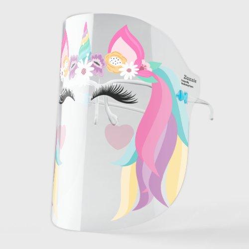 Cute Magical Rainbow Unicorn Floral & Flowing Hair Face Shield