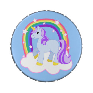 Cute Magical Rainbow Unicorn with Stars Jelly Belly Candy Tin