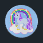 """Cute Magical Rainbow Unicorn with Stars Jelly Belly Tin<br><div class=""""desc"""">Cute unicorn standing under a rainbow cloud with sparkly stars.</div>"""