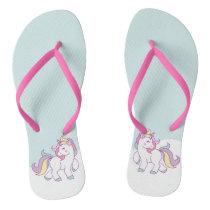 Cute Magical Unicorn Pastel color Flip Flops