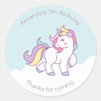 Cute Magical Unicorn Pastel color Personalized Classic Round Sticker