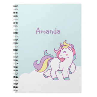 Cute Magical Unicorn Pastel color Personalized Notebook