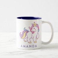 Cute Magical Unicorn Pastel color Personalized Two-Tone Coffee Mug