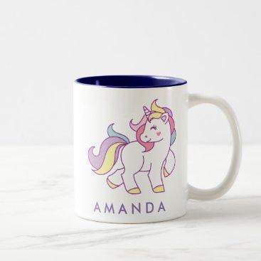CitronellaKids Cute Magical Unicorn Pastel color Personalized Two-Tone Coffee Mug