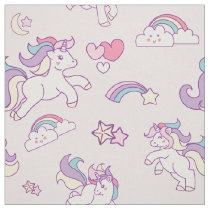 Cute Magical Unicorn Pastel color pink Fabric