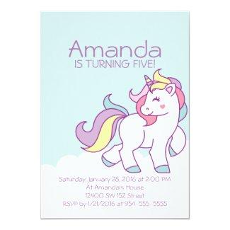 Cute Magical Unicorn Pastel GIRL Animals Birthday Card