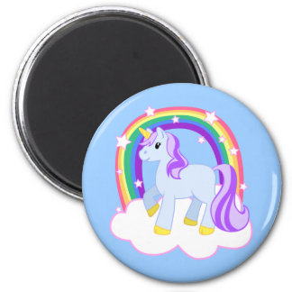 Cute Magical Unicorn with rainbow (Customizable!) 2 Inch Round Magnet