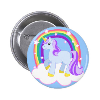Cute Magical Unicorn with rainbow (Customizable!) Pinback Button