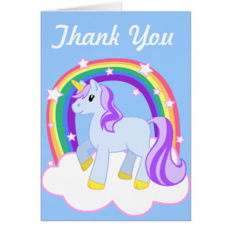 Cute Magical Unicorn with rainbow (Customizable!) Card
