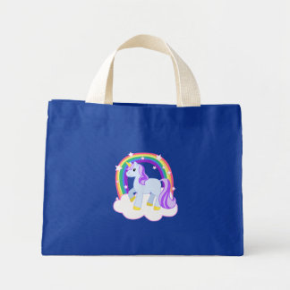 Cute Magical Unicorn with rainbow (Customizable!) Mini Tote Bag