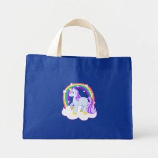 Cute Magical Unicorn with rainbow (Customizable!) Mini Tote Bag