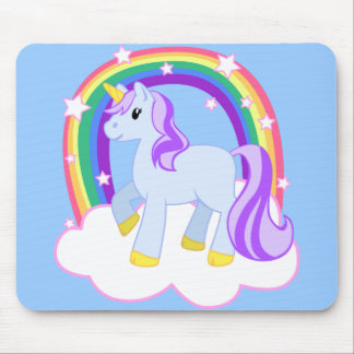 Cute Magical Unicorn with rainbow (Customizable!) Mouse Pad