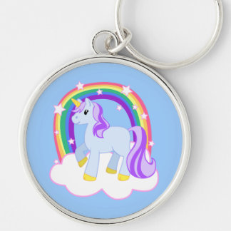 Cute Magical Unicorn with rainbow (Customizable!) Silver-Colored Round Keychain