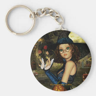 Cute Magical Witch Round Keychain