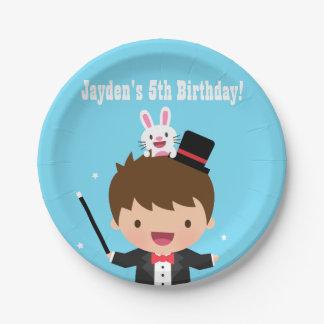 Cute Magician Boy Kids Magic Birthday Party Paper Plate