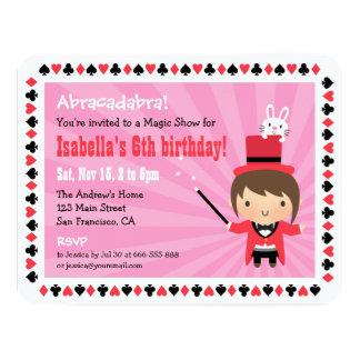 "Cute Magician Girl Kids Magic Party Invitations 4.25"" X 5.5"" Invitation Card"