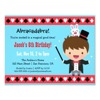 Cute Magician Kids Magic Birthday Party 4.25x5.5 Paper Invitation Card
