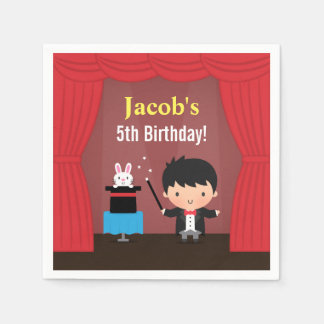 Cute Magician Kids Magic Birthday Party Paper Napkin