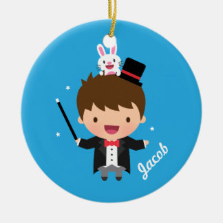 Cute Magician Magic Bunny Trick For Kids Ceramic Ornament