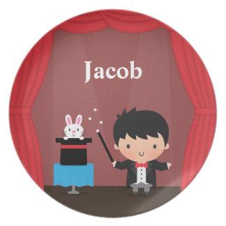 Cute Magician Magic Bunny Trick For Kids Melamine Plate