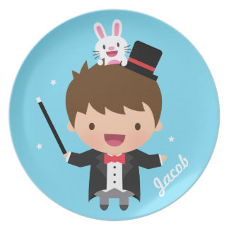 Cute Magician Magic Bunny Trick For Kids Dinner Plates