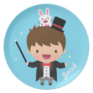 Cute Magician Magic Bunny Trick For Kids Plate