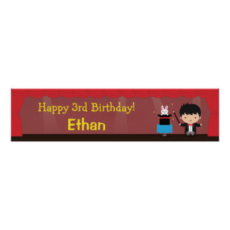Cute Magician Magical Birthday Party Banner Poster