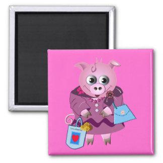 Cute magnet Miss Piggy loves shopping