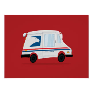 Cute Mail Truck Art Poster