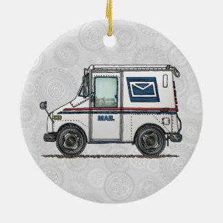 Cute Mail Truck Ceramic Ornament