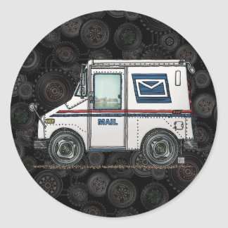 Cute Mail Truck Classic Round Sticker