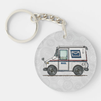 Cute Mail Truck Double-Sided Round Acrylic Keychain