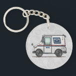 """Cute Mail Truck Keychain<br><div class=""""desc"""">These images of big trucks and fun trucks art belong to an ongoing series of everyday things created by Richard Neuman in his rural studio near McComb, Ohio. Trucks of all kinds have fascinated boys of all ages ever since they were first invented. For 50 years Richard's art has been...</div>"""