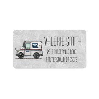 Cute Mail Truck Label
