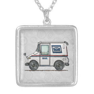 Cute Mail Truck Silver Plated Necklace