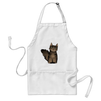 Cute Maine Coon Cat Cartoon - Brown Tabby Adult Apron