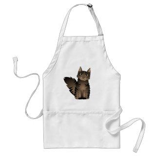 Cute Maine Coon Cat Cartoon - Brown Tabby Adult Apron