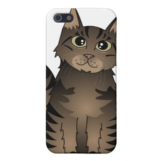 Cute Maine Coon Cat Cartoon - Brown Tabby Case For iPhone SE/5/5s
